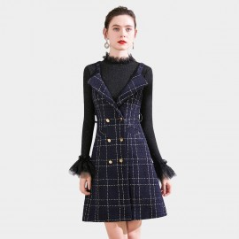 SSXR Wide Collar Plaid Navy Dress (5687)