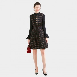 SSXR Plaid Modest Black Dress (5688)