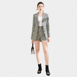 SSXR Blazer and Shorts Plaid Yellow Sets (7125)