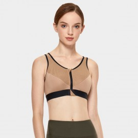 Syrokan Zip Front Nude Sports Bra (A189)