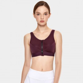 Syrokan Zip Front Wine Sports Bra (A189)