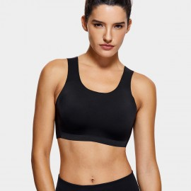 Syrokan Wireless Thick Strap Black Sports Bra (A277)