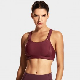 Syrokan X Back Adjustable Wine Sports Bra (A281)