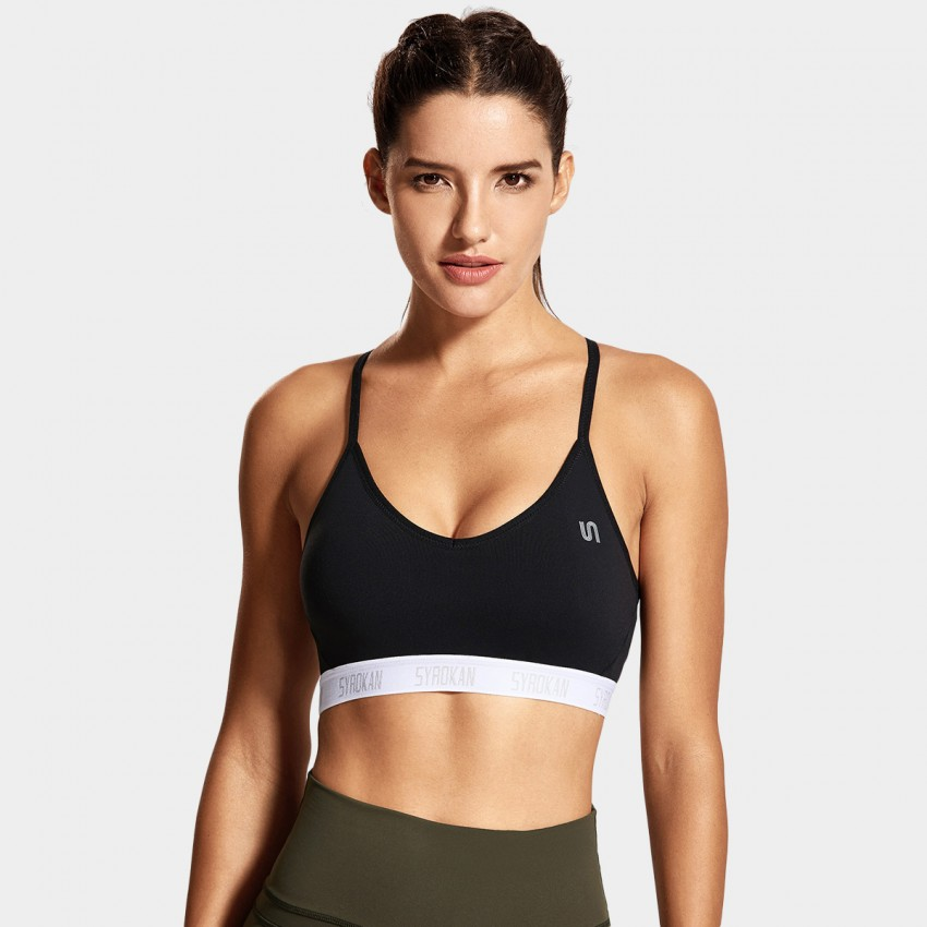 Syrokan V Shape Thin Strap Black Sports Bra (A285)