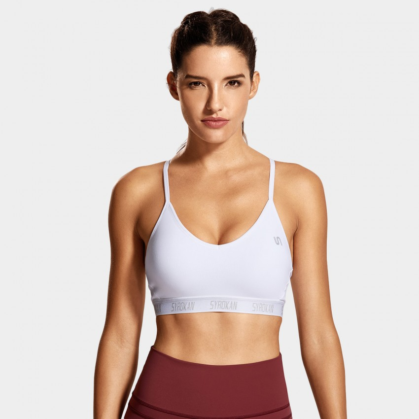 Syrokan V Shape Thin Strap White Sports Bra (A285)