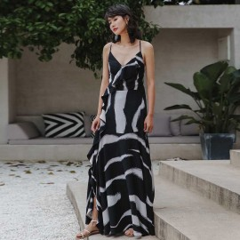 Isislove Printed Waterfall Maxi Dress Black (DR18080)