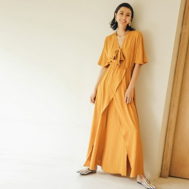 Isislove Marigold Loose Fit Wrap Dress Yellow (DR18136)