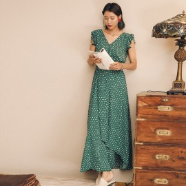 Isislove Polka Dot Max Dress Green (DR18146)