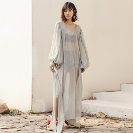 Isislove Full Sleeve Sheer Kaftan Dress Grey (DR18179)