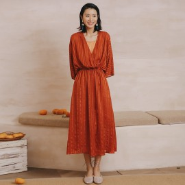 Isislove Gathered Midi Dress Orange (DR18180YDF)