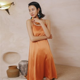 Isislove Silk Look Slip Dress Orange (DR18180YDNF)