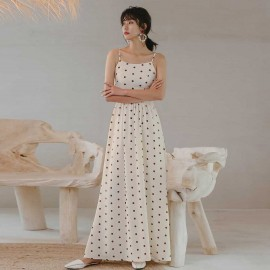 Isislove Spotted Dots Maxi Dress White (DR18182)