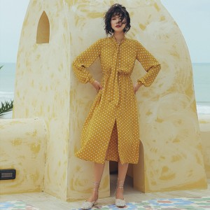 Isislove Polka Dot Smock with Pussy Bow Yellow (DR18210)