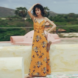 Isislove Floral Marigold Yellow Maxi Dress (DR18220)