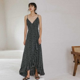 Isis All The Ruffles Black Maxi Dress (DR18225)