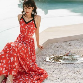 Isis Cross Back Red Maxi Dress (DR18228)