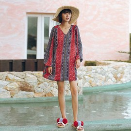 Isis Printed Red Kaftan Dress (DR18229)