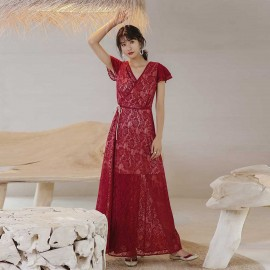 Isis Lace Crossover Red Dress (DR18230)