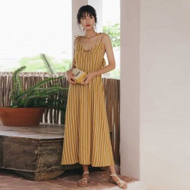 Isislove Stripey Tie Strap Yellow Dress (DR18232)
