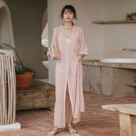 Isislove Beach Dressing Long Pink Kaftan Dress (DR18234)