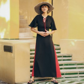 Isislove Colour Wheel Black Maxi Dress (DR19013)