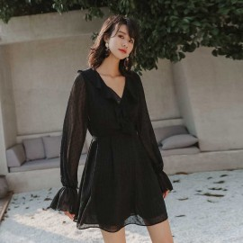 Isislove Sheer Sleeve Black Mini Dress (DR19024)