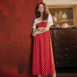 Isislove Spotty Red and White Maxi Dress (DR19054)