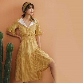Isislove Check It Yellow Midi Dress (DR19065)