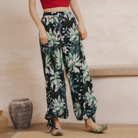 Isislove Tropical Tie Bottom Green Pants (PA18005)