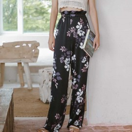 Isislove High Waisted Black Floral Pants (PA18006)