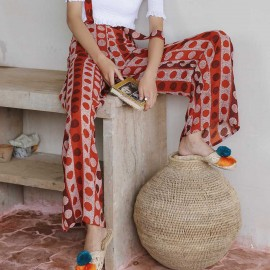 Isislove Spot Print Red Suspender Pants (PA18015)