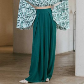Isislove Pleated Wide Leg Green Pants (PA19006)