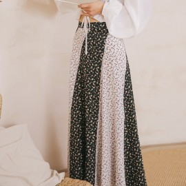 Isislove Floral Patterned Black Maxi Skirt (SK18002)
