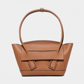 Cilela Large Structured Brown Round Top Handle Bag (CK-003008L)