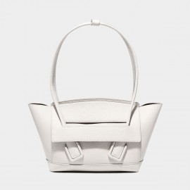 Cilela Large Structured White Round Top Handle Bag (CK-003008L)