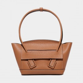 Cilela Petite Structured Brown Round Top Handle Bag (CK-003008S)