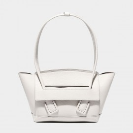 Cilela Petite Structured White Round Top Handle Bag (CK-003008S)