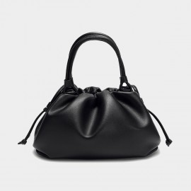 Cilela Gathered Black Top Handle Bag (CK-003047)