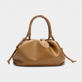 Cilela Gathered Brown Top Handle Bag (CK-003047)
