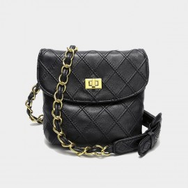 Cilela Quilted Black Square Shoulder Bag (CK-003050)