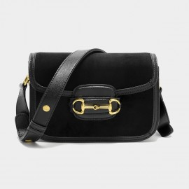 Cilela Suede Black Panel Shoulder Bag (CK-003053)