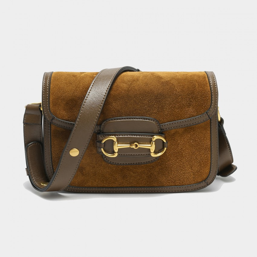 Cilela Suede Brown Panel Shoulder Bag (CK-003053)