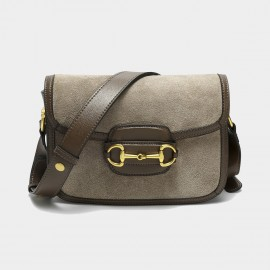 Cilela Suede Khaki Panel Shoulder Bag (CK-003053)