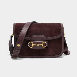 Cilela Suede Wine Panel Shoulder Bag (CK-003053)