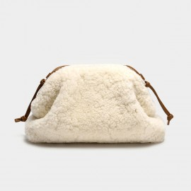 Cilela Fluffy White Wool Shoulder Bag (CK-003070)