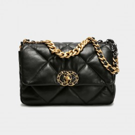 Cilela Mixed Metals Quilted Black Shoulder Bag (CK-003077)