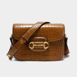 Cilela See You Later Alligator Brown Shoulder Bag (CK-003078)