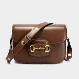 Cilela Buckle Front Brown Shoulder Bag (CK-003079)