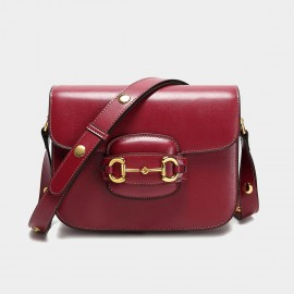 Cilela Buckle Front Wine Shoulder Bag (CK-003079)