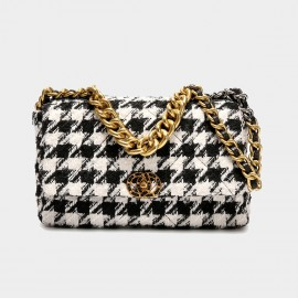 Cilela White Houndstooth Chain Strap Shoulder Bag (CK-003081)